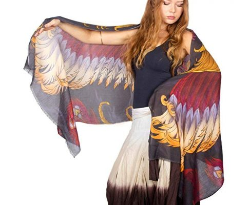 Phoenix Fantasy Hand Painted Scarf Bird Wing Evening Shawl Wrap Review