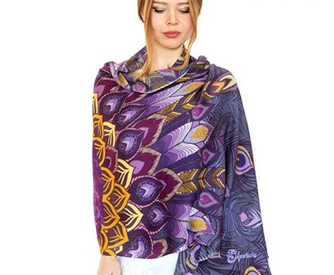 Purple Peacock Summer Scarf, Shawl. Artistic Hand Painted & printed Unique Gift Review