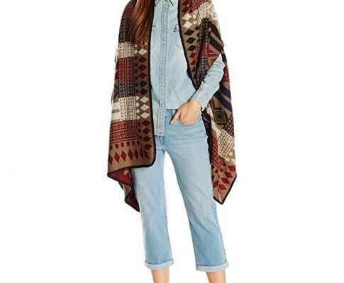 La Fiorentina Women's Colorful Aztec and Shapes Printed Ruana Review