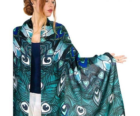 Aqua Peacock Scarf, 100% Cotton hand painted Blue Winged Feather, Wedding Shawl Review