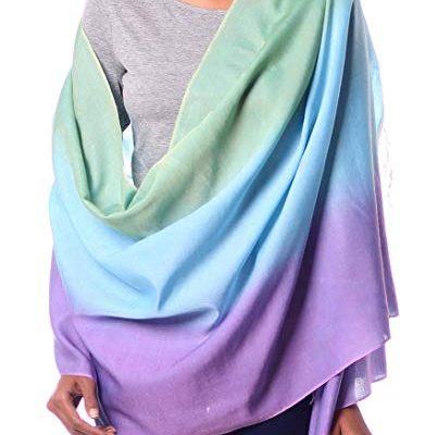 NOVICA Silk and Wool Blend Shawl Wrap, Aqua Rose' Review