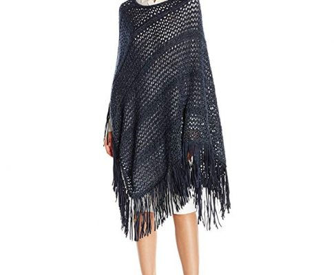 La Fiorentina Women's Open Knit Poncho with Faux Suede Fringe Review