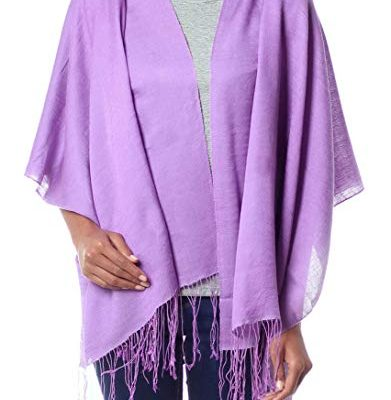 NOVICA Purple Silk Wool Wrap Shawl, 'Lavender Orchid' Review