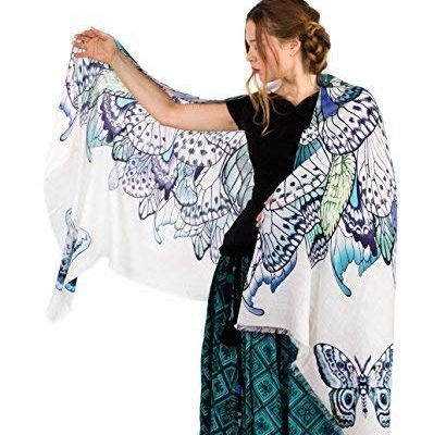 Silk and Cashmere Designer Wearable Art Scarf – Blue Butterfly Wings Shawl. Review