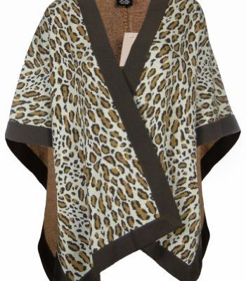 Sutton Studio Womens Merino Wool Leopard Poncho Wrap Misses Review
