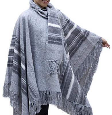 Ethnic Natural Alpaca Wool Poncho Cape Cloak with matching Scarf Silver Gray One Sz Review