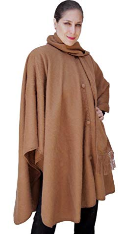 Alpaca Wool Cape Cloak with matching Scarf, Camel