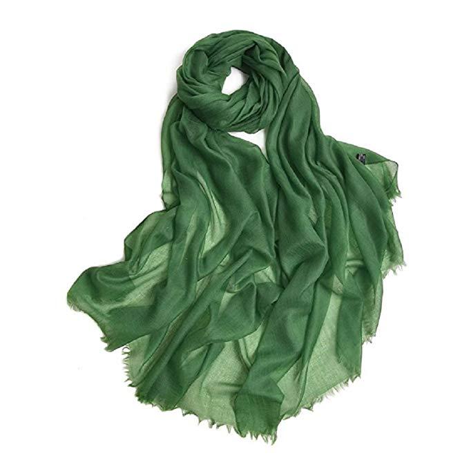100% Cashmere Scarf Warm Pashmina Thin Multi Colors Women Shawl Soft Scarves (Emerald Green)