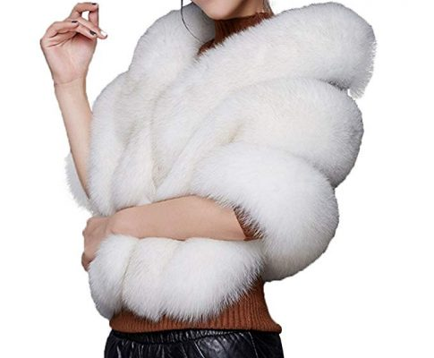 Caracilia Women Luxury Faux Fur Coat Jackets Wrap Cape Shawl for Wedding Party Review