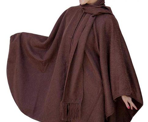 Alpaca Wool Cape Cloak with matching Scarf, Brown Review