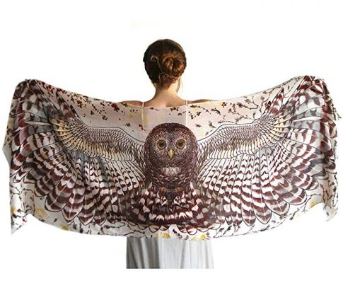 Day Owl Wings Scarf – Hand Painted Wide Spread Owl Wings. 100% Pure Cotton Review