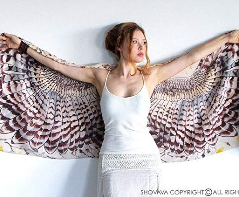 Delicately Hand Painted Owls Wing Shawl & Digitally Printed on Silk & Cashmere Shawl Review