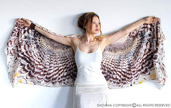 Delicately Hand Painted Owls Wing Shawl & Digitally Printed on Silk & Cashmere Shawl