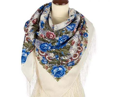 "Pavlovo Posad Russian Shawl Scarf Wrap Pashmina White Wool 49×49"" Review"