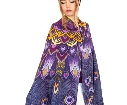 Unique Silk Cashmere Hand Painted Designer Purple Peacock Summer Scarf Shawl Review