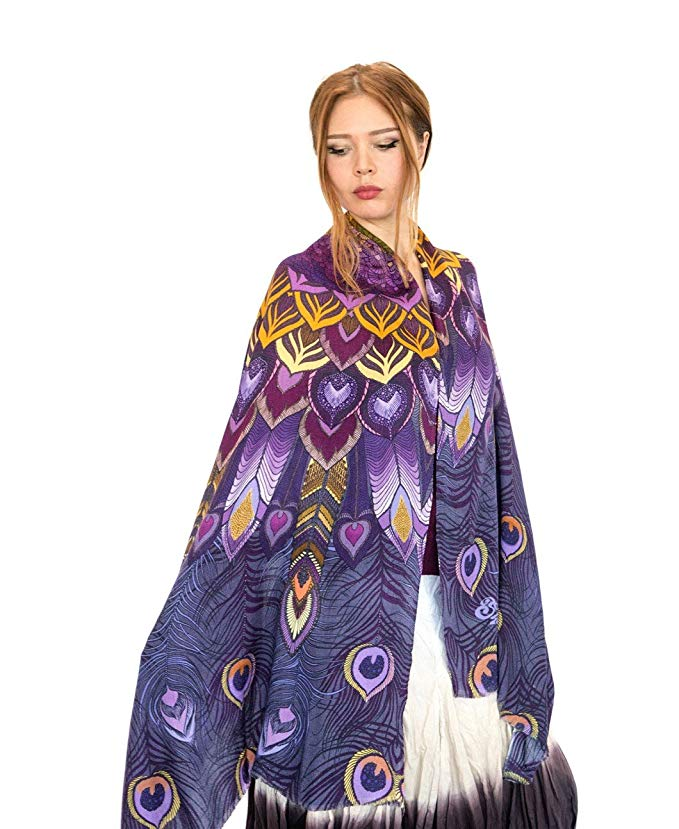 Unique Silk Cashmere Hand Painted Designer Purple Peacock Summer Scarf Shawl