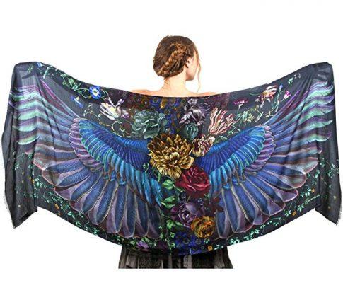 Silk & Cashmere Hand Painted Onyx Dark Bird Wings Designer Shawl Scarf Wrap Review