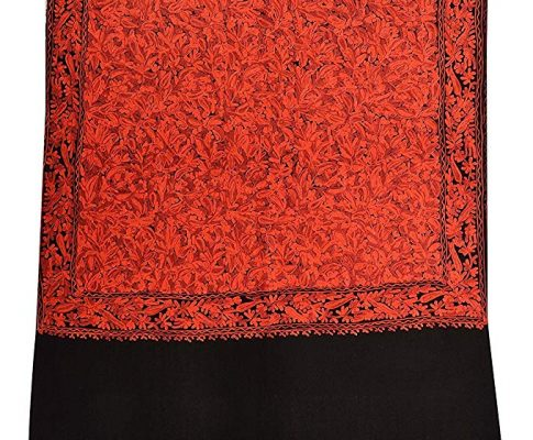 Kashmiri Women's Embroidered Woolen Shawl/Stole Wrap (Black and Red, 28 inch x 80 inch) Made in India Review