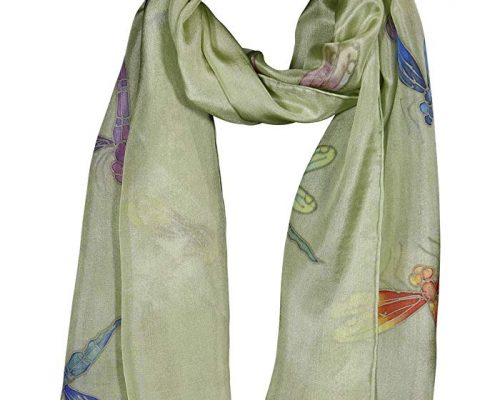 Invisible World Women's 100% Mulberry Silk Scarf Long Hand Painted Dragonfly Review