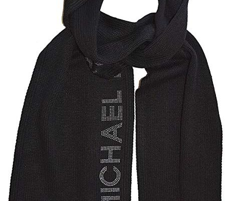 Michael Kors Black Knitted Scarf with Silver Studded Logo One Size Review
