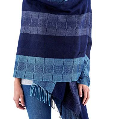 NOVICA Blue 100% Peruvian Alpaca Wool Shawl, 'Huancayo Blues' Review