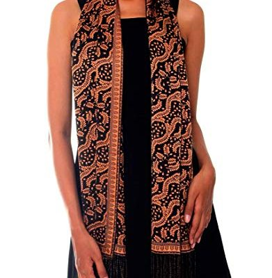 NOVICA 100% Silk Brown and Black Batik Printed Scarf 'Tamarind Leaves' Review