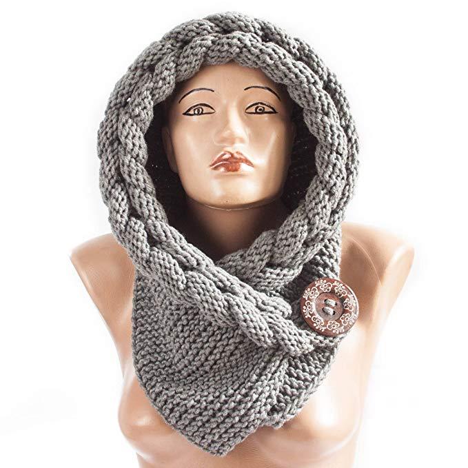 Handmade Hoded scarf Warm scarf Christmas Gift Hood Chunky scarf Acrylic cowl