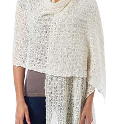 NOVICA White Baby Alpaca Wool Blend White Knit Shawl Wrap, 'Muse' Review