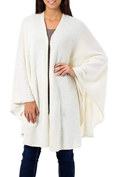 NOVICA White Alpaca Blend Ruana Cloak, 'Snow White'